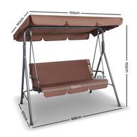 Gardeon 3 Seater Outdoor Canopy Swing Chair Coffee