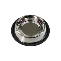2 x L Stainless Steel Pet Bowl Water Bowls Portable Anti Slip Skid Feeder Dog Cat