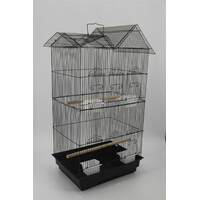 Medium Size Bird Cage Parrot Budgie Aviary with Perch - Black