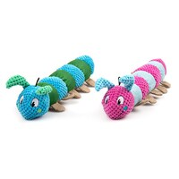 2 x Pet Puppy Dog Toy Play Animal Plush Toy Soft Squeaky Plush Crinkle Caterpillar Toy