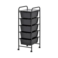 Black Plastic Storage 5 Drawer with Metal Trolley Shelf and Slide-Out Drawers