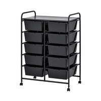 Black Plastic Storage 10 Drawer with Metal Trolley Shelf and Slide-Out Drawers