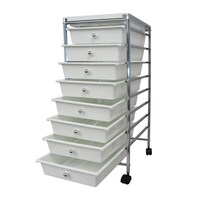 White Plastic Storage 8 Tier with Metal Trolley Shelf and Slide-Out Drawers