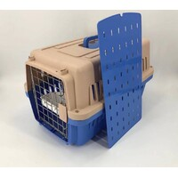 Medium Airline Approve Dog Cat Crate Pet Carrier Cage With Bowl-Blue