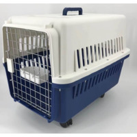 Navy Large Dog Puppy Cat Crate Pet Carrier Cage W Tray, Bowl & Removable Wheels