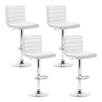 Artiss 4x Leather Bar Stools ARNE Swivel Bar Stool Kitchen Chairs White Gas Lift