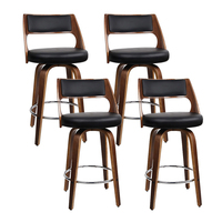 Artiss 4x Wooden Bar Stools Swivel Bar Stool Kitchen Dining Chair Cafe Black 76cm