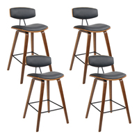 Artiss 4x Wooden Bar Stools Kitchen Bar Stool Dining Chair Cafe Wood Black 8782