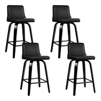 Artiss 4x Felipe Wooden Bar Stools Swivel Bar Stool Kitchen Chairs Black