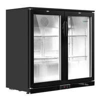 Devanti Bar Fridge 2 Glass Door Commercial Display Freeer Drink Beverage Cooler Black