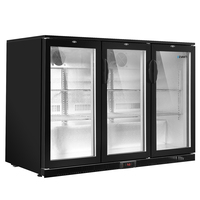 Devanti Bar Fridge 3 Glass Door Commercial Display Freeer Drink Beverage Cooler Black