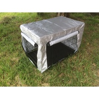 24' Collapsible Metal Dog Crate Puppy Cage Cat Carrier With Cover
