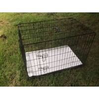 36' Collapsible Metal Dog Cat Crate Cage Cat Carrier With Pet Mat