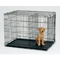 42' Collapsible Metal Dog Puppy Crate Cat Rabbit Cage With Divider