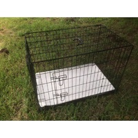 42' Collapsible Metal Dog Crate Cat Cage With Mat