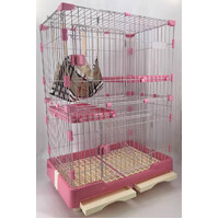 134 cm XL Pink Pet 3 Level Cat Cage House With Litter Tray & Wheel 99x63x134 cm