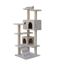 130 cm Beige Cat Scratching Post Tree  Scratcher Pole