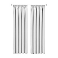 Artqueen 2X Pinch Pleat Pleated Blockout Curtains White 140cmx213cm