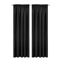 Artqueen 2X Pinch Pleat Pleated Blockout Curtains Black 240cmx213cm