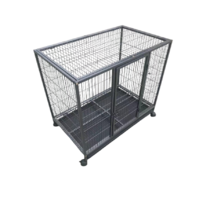 Pet Dog Cat Cage Metal Rabbit Crate Carrier Kennel Wheel & Tray Medium