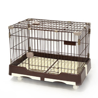Small Brown Pet Dog Cat Rabbit Cage Crate Kennel With Potty Pad And Wheel