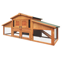 Double Storey Wooden Rabbit Hutch Guinea Pig House Chicken Coop Run