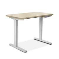 Artiss Electric Motorised Height Adjutable Standing Desk White Frame - Natural Oak 100cmx60cm