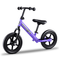 "Kids Balance Bike Ride On Toys Puch Bicycle Wheels Toddler Baby 12"" Bikes Purple"
