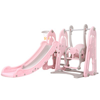 Keezi Kids Slide Swing Outdoor Playground Basketball Hoop Playset Indoor Pink