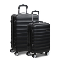 Wanderlite 2 Piece Lightweight Hard Suit Case Luggage Black