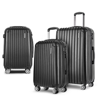 Wanderlite 3 Piece Luggage Suitcase Trolley - Black