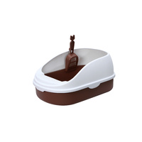 Medium Portable Cat Toilet Litter Box Tray with Scoop