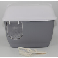 XL Portable Hooded Cat Toilet Litter Box Tray House with Handle and Scoop