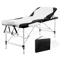 Livemor 3 Fold Portable Aluminium Massage Table - Black & White