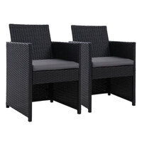 2x Gardeon Patio Furniture Outdoor Dining Chairs Setting Wicker Cushion