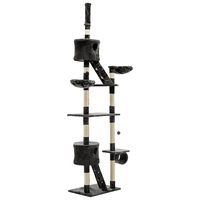 260cm Multi Level Cat Tree Cat Scratching Post Tower Furniture  - Grey