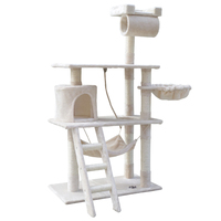 141cm Pet Cat Tree Trees Scratching Post Scratcher Tower Condo House Furniture- Beige