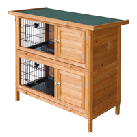 Double Storey Wooden Rabbit Hutch Guinea Pig Cage With Pull Out Tray