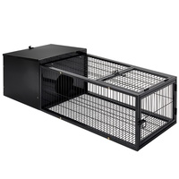 Medium Metal Rabbit Hutch Pet Rabbit Cage Indoor Hamster Enclosure Cages- Black