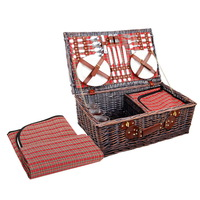 Alfresco 4 Person Picnic Basket Baskets Red Handle Outdoor Corporate Blanket Park