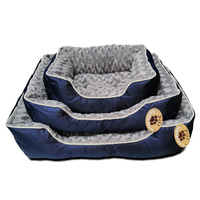 Medium Washable Soft Pet Dog Puppy Cat Bed Cushion Mattress-Blue / Brown