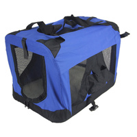 Medium Portable Foldable Dog Cat Soft Crate Carrier-Blue