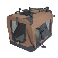 Medium Portable Foldable Dog Cat Puppy Soft Crate-Brown