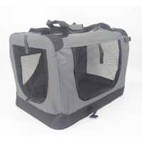 Small Portable Foldable Dog Cat Puppy Soft Crate Cage-Grey
