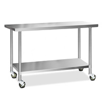 Cefito 430 Stainless Steel Kitchen Benches Work Bench Food Prep Table with Wheels 1524MM x 610MM