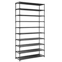 50 Pairs 10 Tier Shoe Rack Metal Shelf Holder Stackable Portable Black