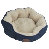 Washable Blue / Grey Fleece Soft Pet Dog Cat Bed-Medium