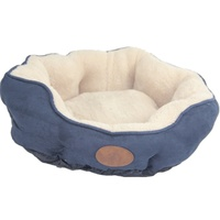 Washable Blue / Grey Pet Dog Fleece Pet Soft Dog Cat Bed-Small