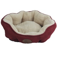 Washable Red / Grey / Beige Fleece Pet Dog Cat Soft Bed-Small
