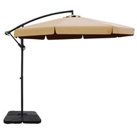 Instahut 3M Umbrella with 50x50cm Base Outdoor Umbrellas Cantilever Patio Sun Beach UV Beige
